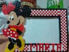Custom photo frame Minnie Mouse hama perler beads by Andres Moreno Rodriguez Perler Bead Disney, Perler Bead Art, Hama Beads Patterns, Beading Patterns, Crochet Pixel, Art Perle, Beading For Kids, Crafts For Kids, Diy And Crafts