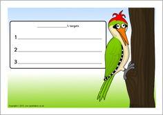Woodpecker-themed target sheets (SB2897) - SparkleBox