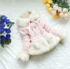 Pink Coat Faux Fox Fur Coat for Toddler Girls Super Soft Beautiful Pink Color Winter Coat