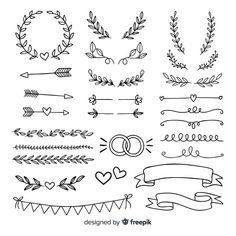 Colección de adornos de boda minimalista... | Free Vector #Freepik #freevector #boda #ribbon #mano #adorno