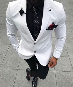 Ideas Wedding Suits Men Black And White Menswear Terno Casual, Blazer Outfits Men, Designer Suits For Men, Herren Outfit, Formal Suits, Tuxedo For Men, Suit Fashion, Black Mens Fashion Suits, Black Suit Men