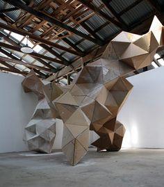 tumbleword:  Gregor Kregar recycled cardboardinstalled at Art Omi, Ghent, NY, USA