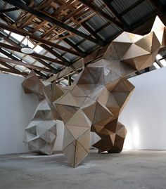 tumbleword:  Gregor Kregar recycled cardboardinstalled at Art Omi, Ghent, NY, USA