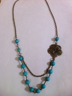 Turquoise Wire Wrapped Necklace Flower by nathalielynndesigns, $15.99