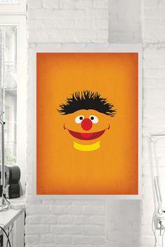 Sesame Street Character Ernie Minimalist Print  by TheRetroInc, $5.00