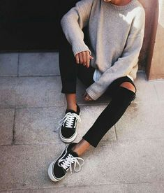 vans old skool black ripped jeans grey sweater and shirt... - Street Style