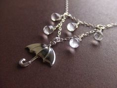Rainy Day With My Umbrella Jewelry Necklace Sterling Silver, Gift for Her, Under 30, Gift Guide on Etsy, $29.00 #SterlingSilverNecklace