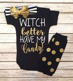 WITCHES Better Have My Candy Halloween Bodysuit Girls Halloween Shirts - BellaPiccoli