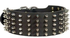 Top Quality #Spiked #Leather #Collar for #Rottweiler $89.90 | www.all-about-rottweiler-dog-breed.com