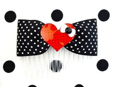 Rockabilly Sweetheart Swiss Dot Hair Comb  Black by PunkUpBettie