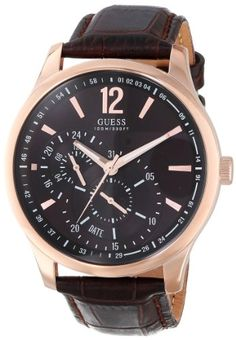 GUESS Men's U10627G1 Dress Brown Dial Leather Strap Watch