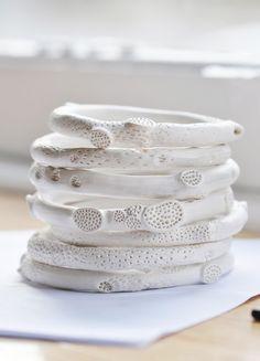 Porcelain rock coral bangles | Katherine Wheeler