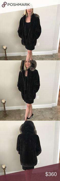 "Sheared Beaver Fur Coat Crystal Fox Fur Trim Hood. Gorgeous Sheared Beaver Fur Coat with Crystal Fox Fur Trimmed Hood. Dimensions Fur is soft, buttery and luxurious. Removable hood with 3 clips. Monogrammed replaced with velvet fabric on lining. Fully lined. Front zipper, 2 pockets, set in sleeves.   Shoulder to Shoulder: 17""  Coat length not including collar: 29 1/2""  Sleeve length : 23 1/2""   Bust: 41"" Sabu Furs Jackets & Coats"