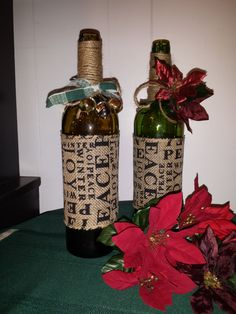 Festive Decorative Wine Bottle  Perfect for the by SweetPeasCharm, $14.95
