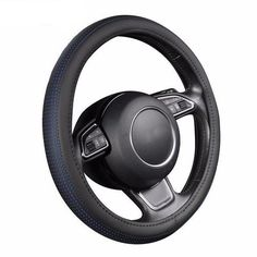 Microfiber Leather Steering Wheel Cover for Car Patch Anti-slip Safety Protector Universal Fit 38cm//15inch Black Red
