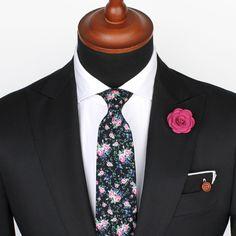 Black & Pink Floral Tie – Ties – Accessories