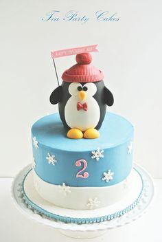 Cute penguin birthday cake!  Tutorial available in pdf format.  https://www.facebook.com/TeaPartyCakesbyNaomi