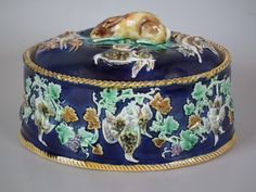 Blue Wedgwood Majolica game pie dish, liner & cover Conversation Pieces, For You Blue, Roosters, Porcelain Ceramics, Wedgwood, Hens, Pie Dish, Boxes, Blue And White