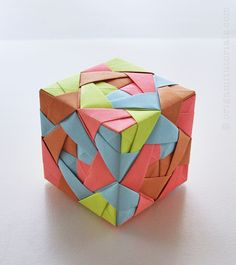 How To Make An Origami Modular Sonobe Cube : Sonobe cube lamp tutorial origami tutorials Instruções Origami, Origami Paper Folding, Origami Lamp, Origami Artist, Origami And Kirigami, Origami Dragon, Origami Bookmark, Modular Origami, Useful Origami