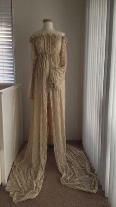 Tan Lace Maternity Gown with lace fluffy long by BoutiqueByAgnes