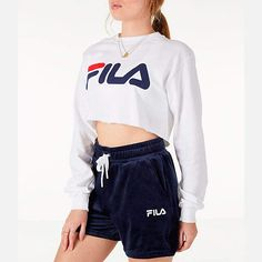 Fila Women& Colette Long-Sleeve Crop T-Shirt Cute Comfy Outfits, Sporty Outfits, Pink Outfits, Big Shirt Outfits, Cropped Jumper Outfit, Fila Outfit, Fila Dress, Fila Shorts, Stylish Clothes