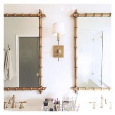 My sweet husband hung mirrors in our master bath this morning, and I'd be lying if I didn't say I was . (The mirrors were a Craigslist find! Gold Mirror Bathroom, Bamboo Bathroom, Diy Mirror, Master Bathroom, Downstairs Bathroom, Bathroom Faucets, Chinoiserie, Bamboo Mirror, Unique Mirrors