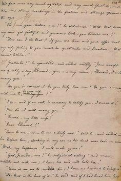Charlotte Bronte's handwriting. Manuscript of JANE EYRE.