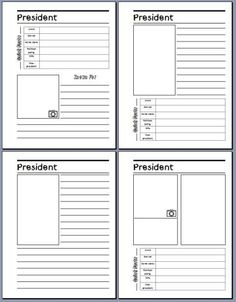 President Notebooking Pages from NotebookingFairy.com. Just what we needed!