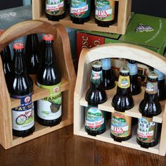 Handmade Wood 6 Beer Bottle Carrier  Super awesome way to take your favorite craft brews where ever you wander!