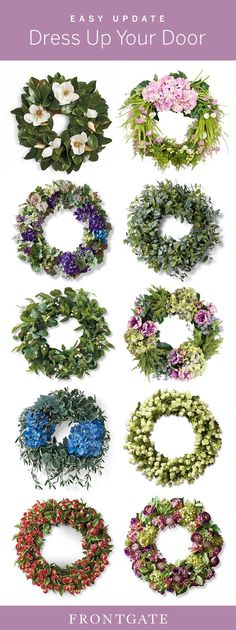 Dress up your front door or mantel with lifelike faux wreaths from Frontgate Diy Fall Wreath, Wreath Crafts, Summer Wreath, Flower Crafts, Tulle Wreath, Floral Wreath, Diy Christmas Door Decorations, Vintage Wreath, Front Door Decor