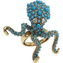 Turquoise octopus ring