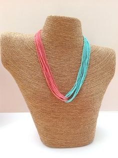 Bridesmaids coral and turquoise necklace by StephanieMartinCo, $15.00
