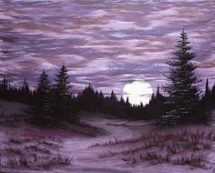 Original Landscape Oil Painting Purple Full Moon by 12MidnightOils, $175.00