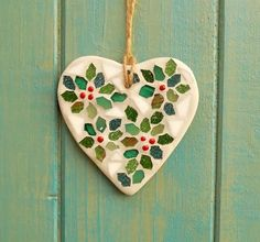 Mosaic Mini Holly Heart Garden Hanging Decoration £15.00