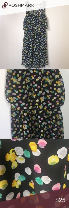 Bisou Bisou Multicolored Dress Multicolored Bisou Bisou dress in size 12. 100% polyester. Hand wash. No noticeable stains or tears. There is a line on the left breast. Please see last photo. Bisou Bisou Dresses