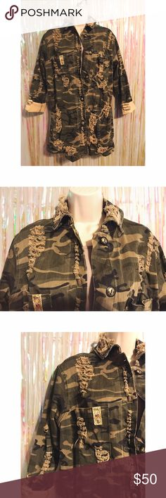 """Long SleevebDistressed Camo Jacket Long distressed camo jacket with rips on front & back. Long sleeve (sleeves roll down). 98% Cotton, 2% Spandex. 30"""" measured from back of jacket. Not by brand listed. Topshop Jackets & Coats Trench Coats"""