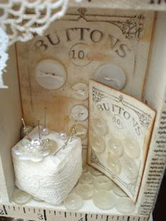 Beautiful old button cards