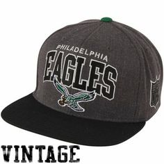 857c70a96b2 Mitchell   Ness Philadelphia Eagles Throwback Arch Logo Snapback Adjustable  Hat - Charcoal Black
