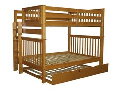 Amazon.com: Bedz King Mission Style Bunk Bed Full over Full with End Ladder and a Full Trundle, Honey: Kitchen & Dining