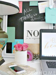 Decorate your desk with inspirational items and quotes! #smallspacestyle #decor
