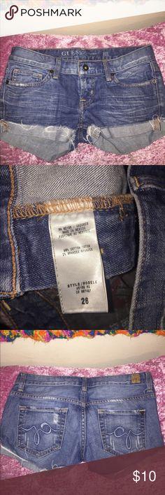 Guess jean distressed shorts Guess logo distressed shorts / size 26 / dark blue denim Guess Shorts Jean Shorts