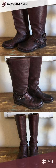 Frye tall boots sz 7 brown leather Brown rugged leather em with buckles up the back. This boot zips up the back & has buckles that snap up the back as well. Super comfy tall boot in a Size 7B. This boot is made to look super worn and rugged & was my personal boot that I unfortunately cannot fit into anymore thanks to being pregnant:( however My loss is someone else's gain. In used good condition with signs of wear & I took of the toe bottom buckles because they annoyed me & unfortunately…