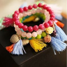 Boho Beaded Bracelet with Tassel Pearl Pendant - Fashion Accessories Free shipping