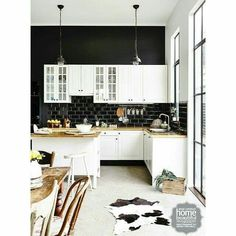 Black. White. Timber kitchen in country Victoria