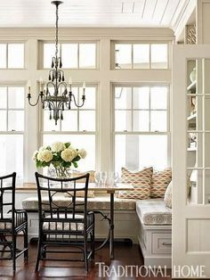 Breakfast bench built in classic style Hamptons traditional home southern charm windows