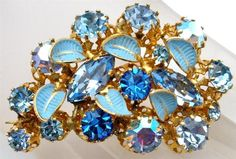 Marked Made in Austria Blue Enamel Leaf Crystal Gold Pin Brooch Art Deco Estate | eBay