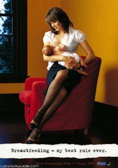 In 2002, Lucy Lawless helps promote World Breastfeeding Week in New Zealand.