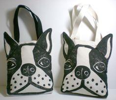 Boston Terrier Face Bag Linoleum Block Print - 2014 Custom Tote ...