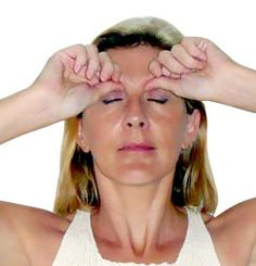 Depuff and relax your eyes with acupressure • Step 1: Position your thumbs in the indentation of the inner upper ridge of the eye sockets. Press firmly. It is often sore, which means those acupoints are blocked. If sore, release some pressure. Massage the points while counting to 10. Release. Repeat 3 times.