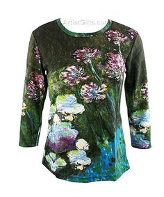 $39.95 Monet Agapanthus and Water Lilies Art Top with Free US Shipping at ArtistGifts.com